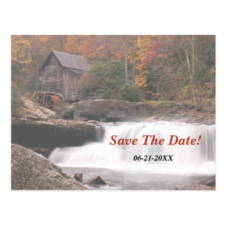 Save The Date Autumn In The Country Wedding Postcard