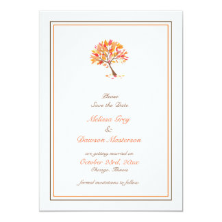 Save The Date Autumn Theme Tree Flat Card