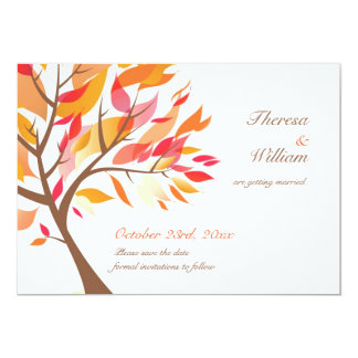 Save The Date Autumn Theme Tree Flat Card