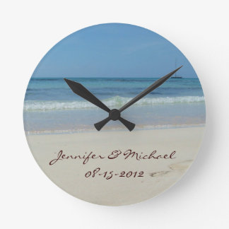 Save The Date Beach Wedding Anniversary Wall Clock