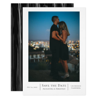 Save The Date Black White Wedding Personalised Card