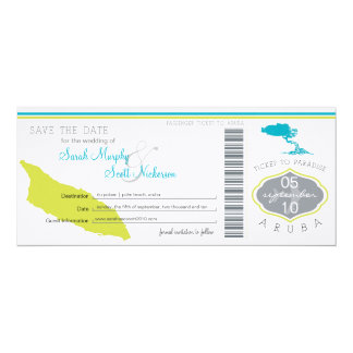 Save the Date Boarding Pass to Aruba Card