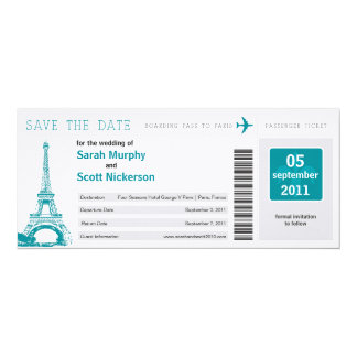 Save the Date Boarding Pass to Paris France 10 Cm X 24 Cm Invitation Card
