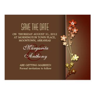 save the date brown elegant sakura postcards