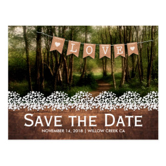 SAVE THE DATE BURLAP BUNTING WEDDING | GYPSOPHILA POSTCARD