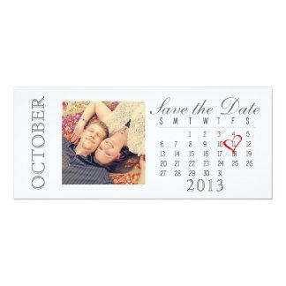 Save the Date Calendar: October 2013 10 Cm X 24 Cm Invitation Card