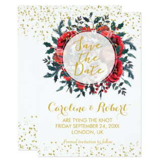 Save the date card gold glitter christmas floral