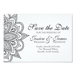 Save the Date Card Tribal Indian Inspired Wedding 9 Cm X 13 Cm Invitation Card