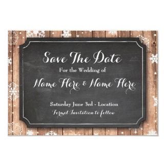 Save The Date Chalk Wood Winter Holidays Snowflake 9 Cm X 13 Cm Invitation Card