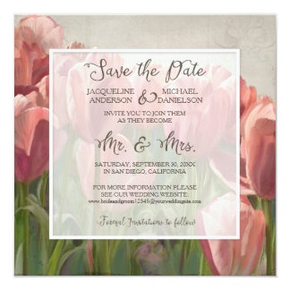 Save the Date Coral Pink Tulip Spring Engagement 13 Cm X 13 Cm Square Invitation Card