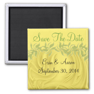 """""""Save the Date"""" Curls Over Yellow With Greenery Refrigerator Magnets"""