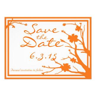 Save the Date custom orange floral wedding invites