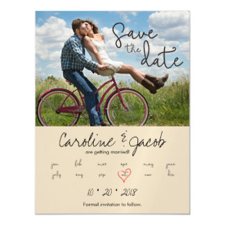 Save the Date, Custom Photo, Modern Script, Heart Magnetic Invitations