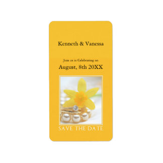 Save the Date Daffodil Spring wedding Address Label