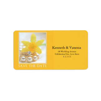 Save the Date Daffodil Spring wedding Label