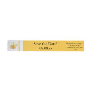 Save the Date Daffodil Spring wedding Wraparound Return Address Label