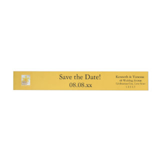 Save the Date Daffodil Spring wedding Wraparound Return Address Label