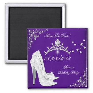 Save The Date Dark Purple High Heels Shoes Tiara Fridge Magnets