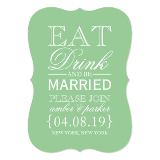 Save the Date | Eat Drink & Be Married 13 Cm X 18 Cm Invitation Card