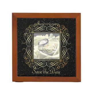 Save the Date Elegant Gold Foil Dots Look Script Desk Organisers