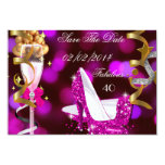 Save The Date Fabulous 40 Hot Pink Gold Bubbles 9 Cm X 13 Cm Invitation Card
