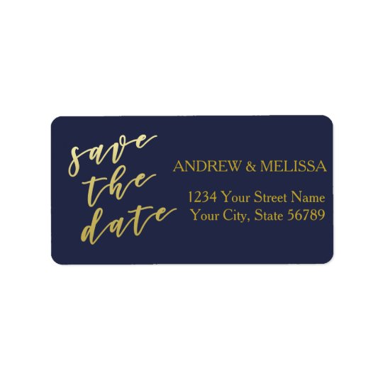 Save the Date | Faux Gold Script Label