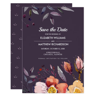 Save the Date. Floral Autumn Wedding Announcement