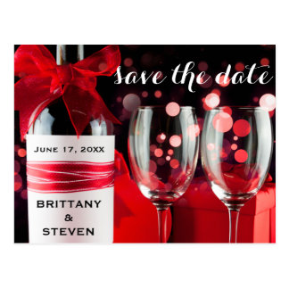 Save The Date Glasses & Bottle Engagement Postcard