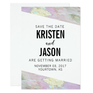 Save the Date Gold Faux Foil Paint Pink Pastel Card