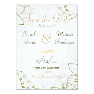 Save the Date Green and Gold Simple Wedding Card