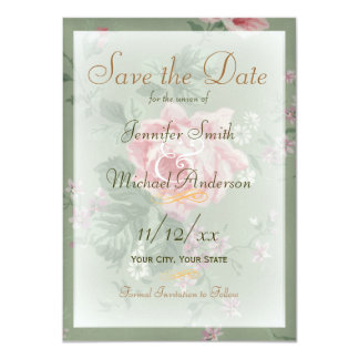 Save the Date Green and Vintage Pink Rose Wedding Card