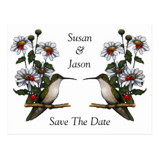 Save The Date: Hummingbird, Daisies, Ladybugs Postcard