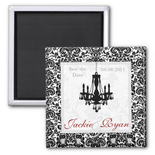 Save the Date Magnet Chandelier Black White