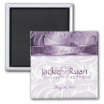 Save the Date Magnet Floral Leaf Purple Silver