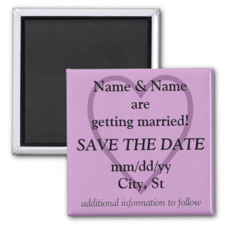 SAVE THE DATE magnet - lilac with heart