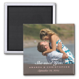 Save the Date Modern Brown Pink Magnet
