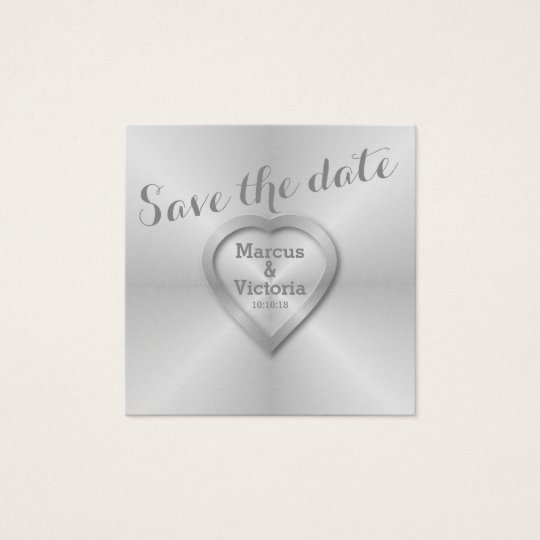 Save the date Modern Brushed Aluminium Square Business Card