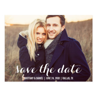 Save the Date Modern Engagement Photo Postcard W S