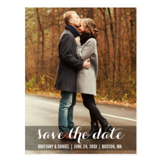Save The Date Modern Engagement Postcard LWB