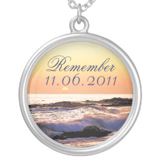 Save The Date Necklace Sunset Ocean Sea Wedding
