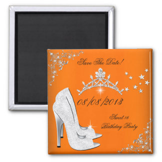 Save The Date Orange Silver High Heels Shoes Tiara Square Magnet