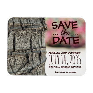 Save the Date Palm Tree Begonia Wedding Garden Rectangular Photo Magnet