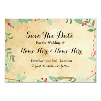 Save The Date Paper Rustic Winter Holidays Berries Card