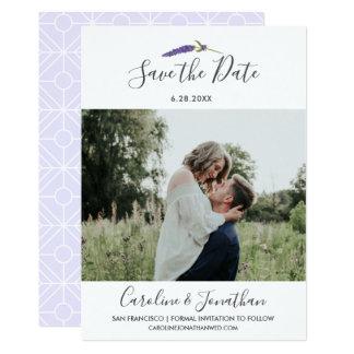Save the Date Photo Pretty Purple Lavender Flower Card