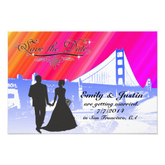 SAVE THE DATE PHOTO WITH VIEW OF SAN FRANCISCO ART PHOTO