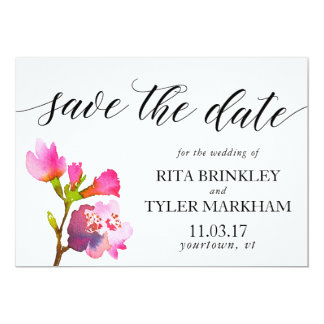 Save the Date Pink Purple Summer Floral Watercolor Card