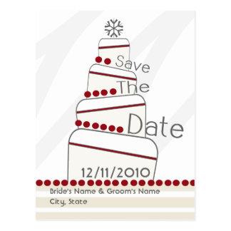 Save The Date Postcard - Winter Wedding Cake