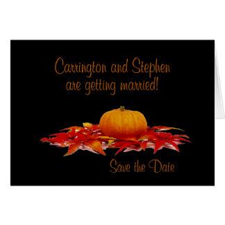 """Save the Date"" - Pumpkin/Autumn Leaves Card"