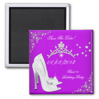 Save The Date Purple High Heels Shoes Tiara Magnets