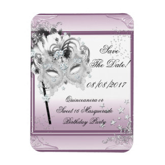 Save The Date Quinceanera Sweet 16 Masquerade Rectangular Photo Magnet